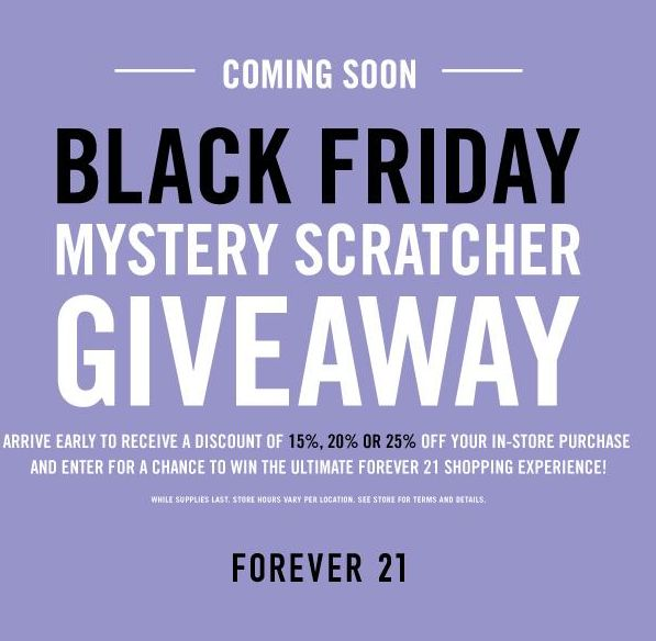 Forever 21 Black Friday 2014 Deal: Get Mystery Scratcher & Save 15% ...