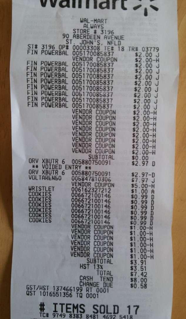 Name:  Walmart April 20 receipt.jpg Views: 6400 Size:  74.4 KB