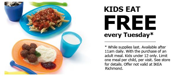 Ikea kid 39 s eat free every tuesday w adult meal purchase for Ikea free kids meal