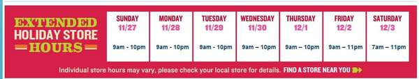 Old navy Extended Holiday hours