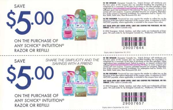 Intuition razor refills coupons