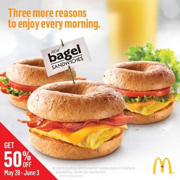 McDonald's 50% off baked multigrain bagels and bagel ...