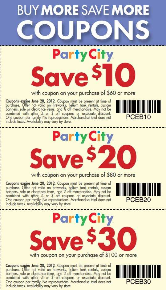 Coupons party city canada