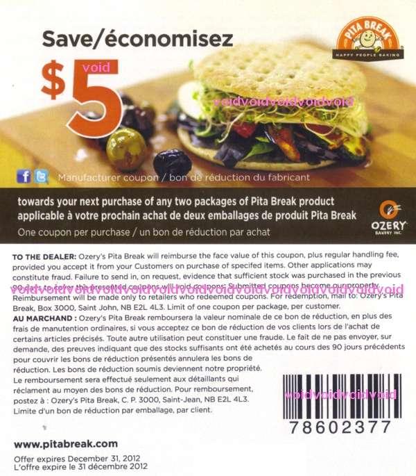 Pita break coupon