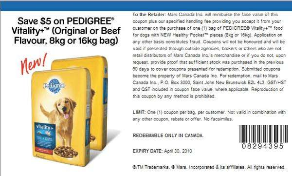 Pedigree Dog Food Coupons Printable