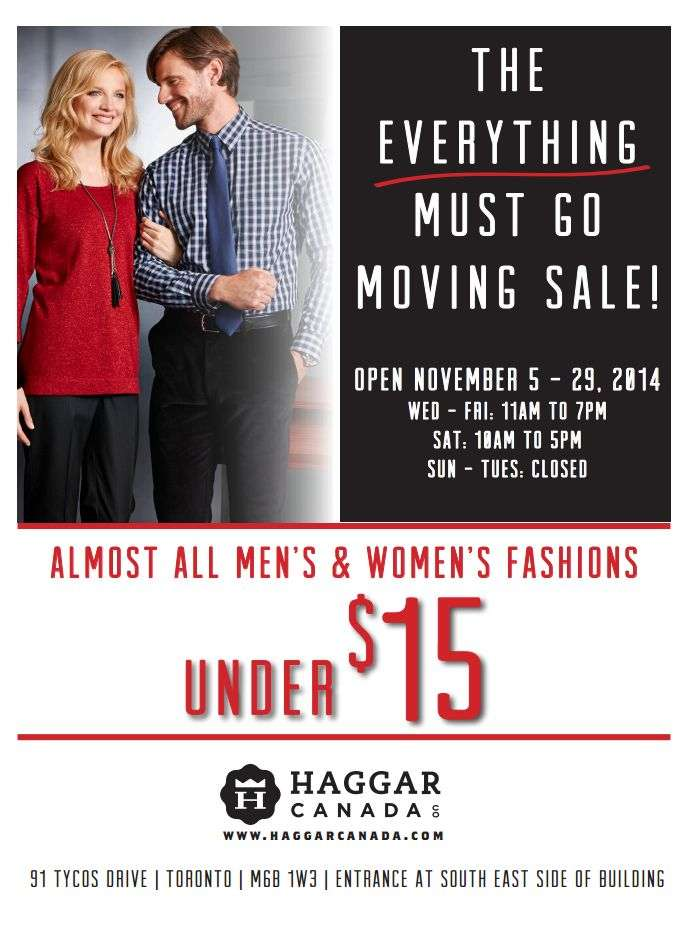 Haggar Warehouse Sale , January 25 to 28, Men's & Women's casual and dress fashions, most items under $ Toronto Warehouse Sale.