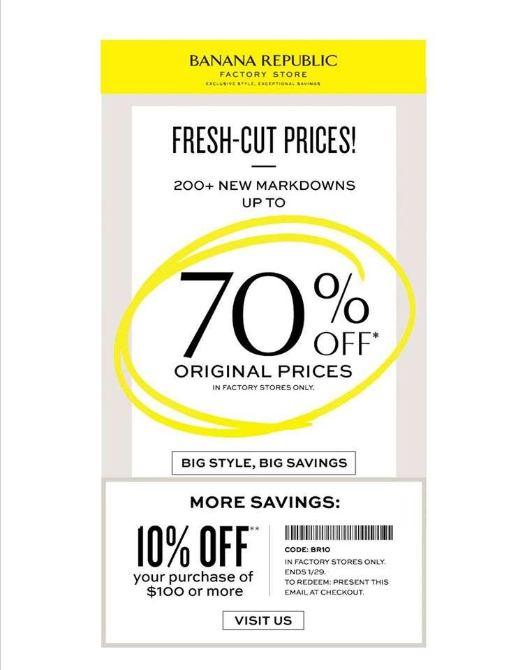 Banana Republic Factory Store: Save up to 70% off original ...