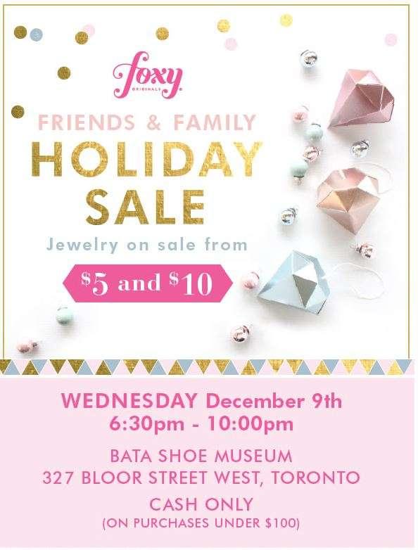 Foxy originals holiday sale in toronto dec 9th for Christmas decs sale