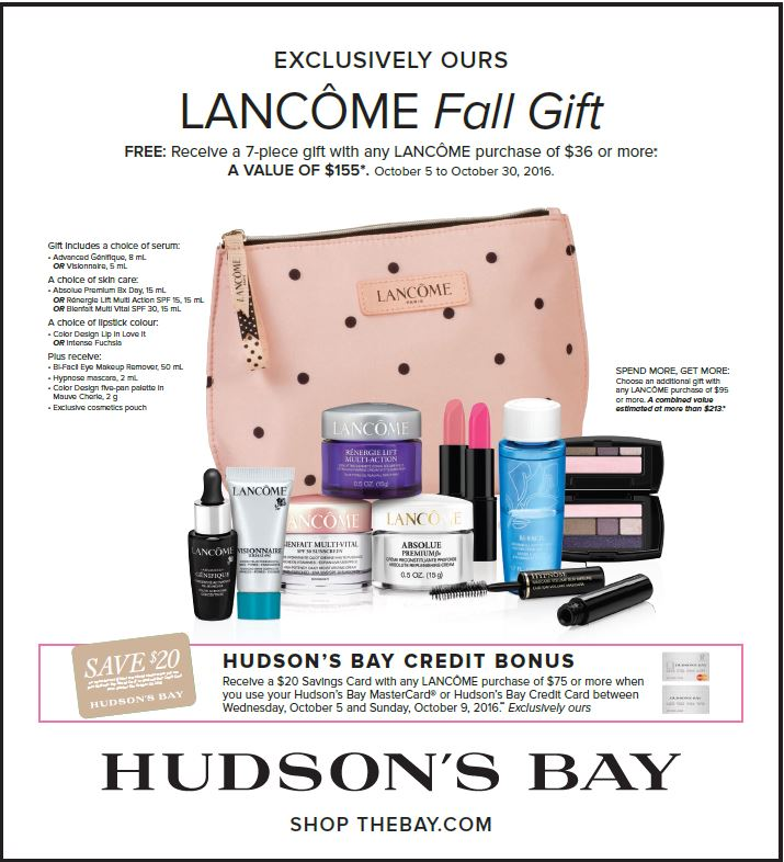 Hudson's Bay: Lancome Gift with Purchase (Oct 5 to 30)