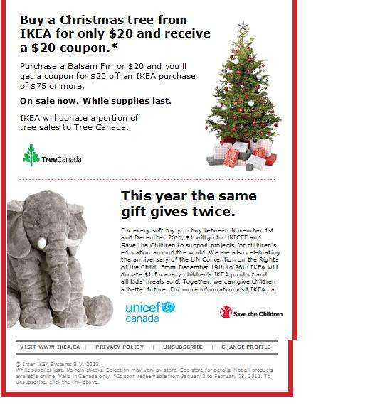Ikea 20 coupon with purchas of 20 christmas tree for Buy ikea voucher online