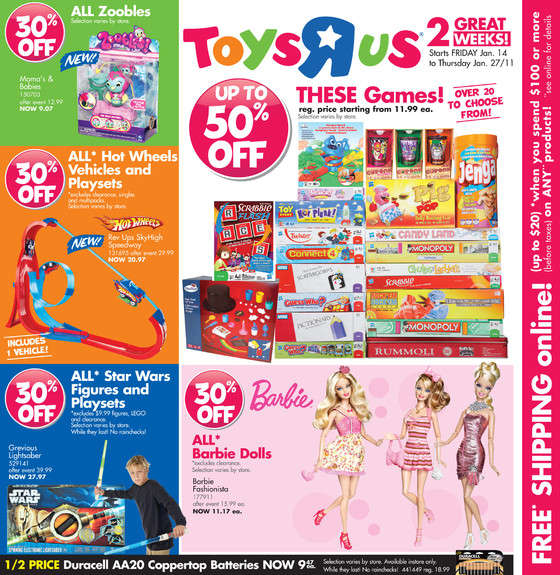 R Flyers associated with Toys R Us