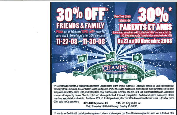 Champs discount coupons