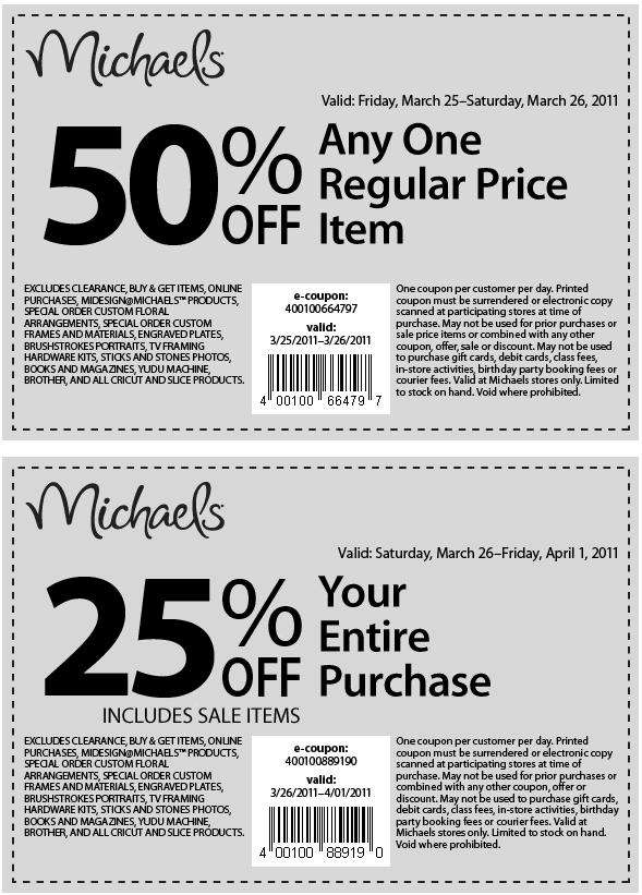Michaels 50 off 1 regular priced 25 off entire for Coupons michaels arts and crafts