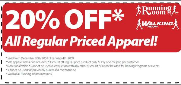 [Running Room] Running Room 20% discount coupon
