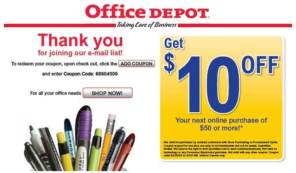 Office depot online coupon code