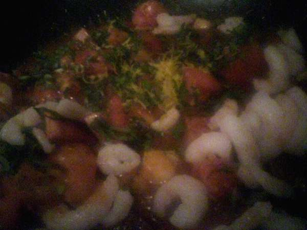 Name:  tomatoes herbs and cooked shrimp at final toss.jpg