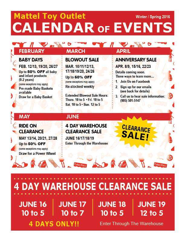 Mattel Toy Outlet (Mississauga) Calendar of Events (Feb - Jun, 2016)