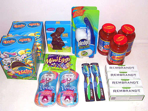 Shoppers Drug Mart  3x Easter Chocolate, $0.29 each on Clearance = $0.87 1x Micro Mini Eggs, $0.29 on Clearance 2x Pledge Dusters, $1.99 (- 1/$1.99 FPC) = $1.99 2x Venus Vibrance Razors, $1.99 (- 2/$1.99) = $0.00 2x Reach Toothbrush, $0.99 (- 2/$0.99) = $0.00 4x Rembrandt Toothpaste, $1.99 (- 4/$1.99) = $0.00 3x Ragu Pasta Sauce, $0.99 = $2.97  Total after taxes before coupons = $24.18 Total after taxes and coupons = $8.03